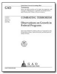 Combating Terrorism Observations on Grow... by Gebicke, Mark E.