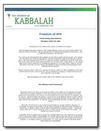 Freedom of Will by Ashlag, Yehuda, Rabbi