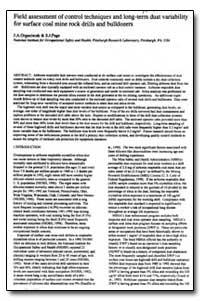 Field Assessment of Control Techniques a... by Organiscak, John A.