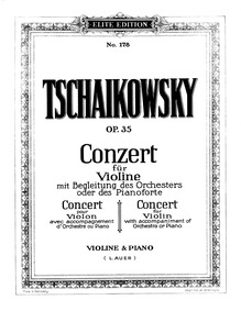 Violin Concerto, Op.35 : Piano Score Volume Op.35 ; TH 59 by Tchaikovsky, Pyotr