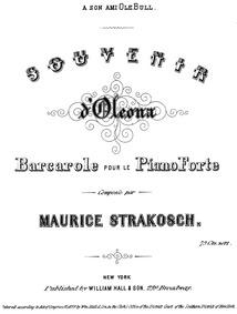 Oleona, Barcarole (Souvenir d & rsquo;Ol... by Strakosch, Maurice
