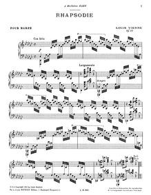 Rhapsodie, Op.25 : Complete Score Volume Op.25 by Vierne, Louis