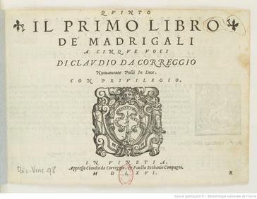 Madrigali a 5 voci, Libro 1 : Quinto by Merulo, Claudio