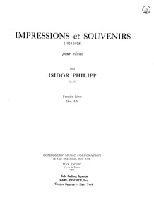 Impressions et souvenirs (Neuf Petites P... Volume Op.57 by Philipp, Isidor