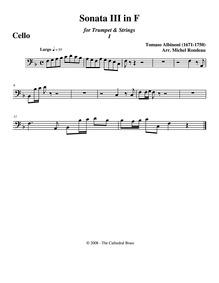 Violin Sonata in F major, T.So 28 : Cell... Volume T.So 28 ; Op.4 No.4 by Albinoni, Tomaso