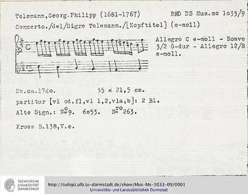 Violin Concerto, TWV 51:e3 : Complete Sc... Volume TWV 51:e3 by Telemann, Georg Philipp
