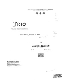 Trio (Prelude, Variations and Finale), O... Volume Op.30 by Jongen, Joseph