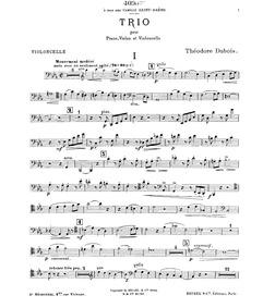 Piano Trio No.1 in C minor : Cello part by Dubois, Théodore