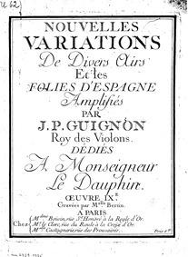 Nouvelles variations de divers airs et l... Volume Op.9 by Guignon, Jean-Pierre