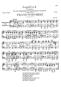 Jagdlied, D.521 (Hunting Song) : Voice +... Volume D.521 by Schubert, Franz
