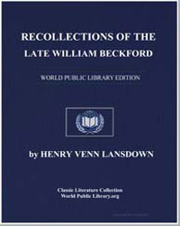 Recollections of the Late William Beckfo... by Lansdown, Henry Venn