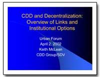 Cdd and Decentralization : Overview of L... by Mclean, Keith