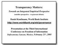 Transparency Matters : Towards an Integr... by The World Bank