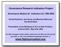Governance Research Indicators Project G... by Kaufmann, Daniel