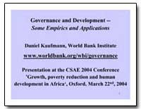 Governance and Development Some Empirics... by Kaufmann, Daniel