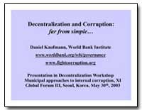 Decentralization and Corruption : Far fr... by Kaufmann, Daniel