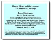 Human Rights and Governance : The Empiri... by Kaufmann, Daniel