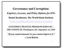 Governance and Corruption : Empirics, Le... by Kaufmann, Daniel