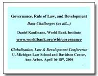Governance, Rule of Law, And Development... by Kaufmann, Daniel