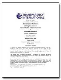 Governance Matters : Linking Governance ... by Kaufmann, Daniel