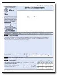 Service Annual Survey General Instructio... by U. S. Census Bureau Department