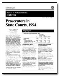 Prosecutors in State Courts, 1994 by Defrances, Carol J.