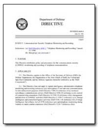 Communications Security Telephone Monito... by Department of Defense