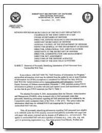 Removal of Personally Identifying Inform... by Department of Defense