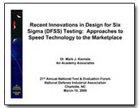 Recent Innovations in Design for Six Sig... by Kiemele, Mark J., Dr.