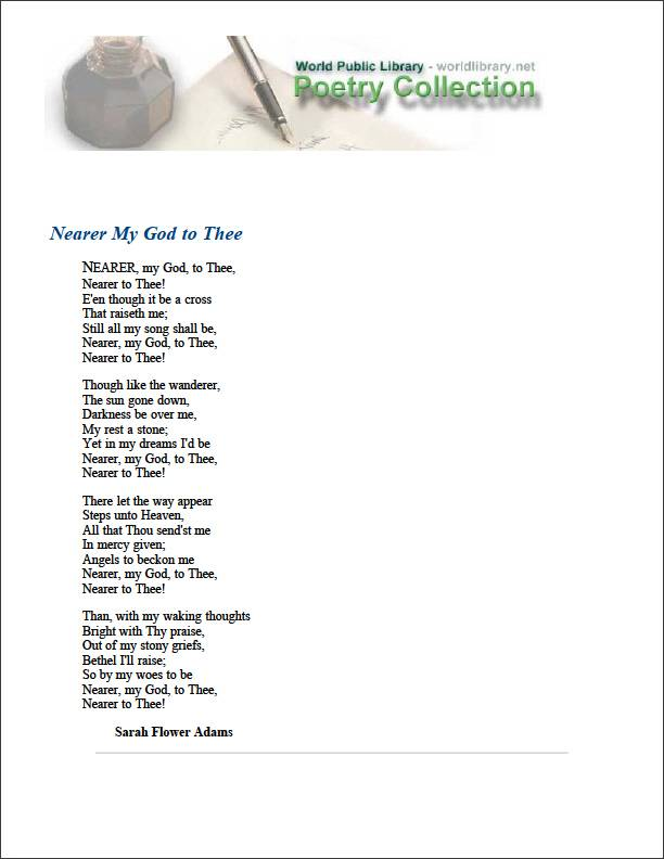 Nearer My God to Thee by Adams, Sarah Flower