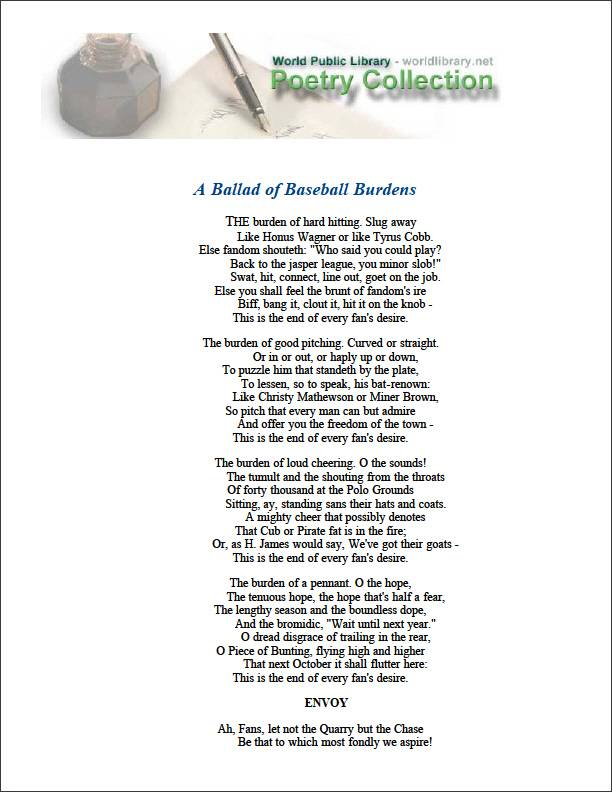 A Ballad of Baseball Burdens by Adams, Franklin P. (Franklin Pierce)