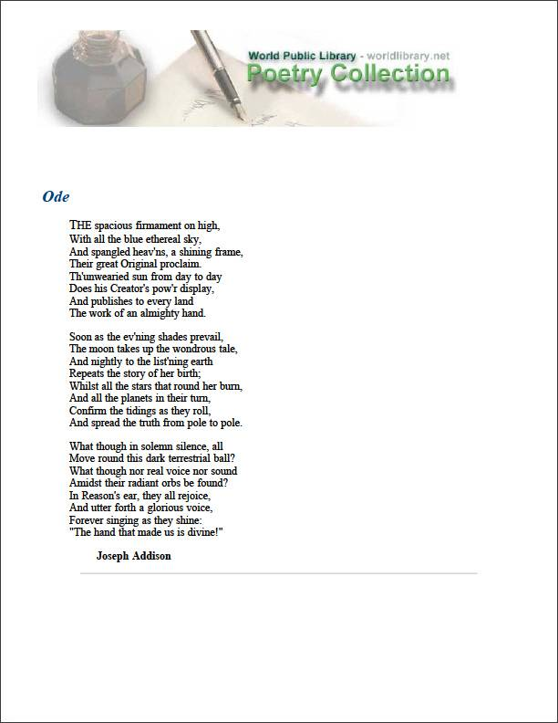 Ode by Addison, Joseph