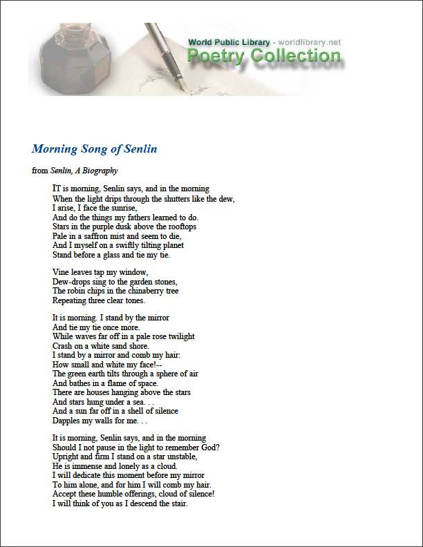 Morning Song of Senlin by Aiken, Conrad