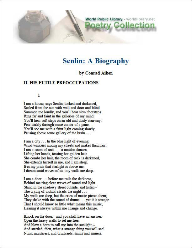 Senlin : A Biography by Aiken, Conrad