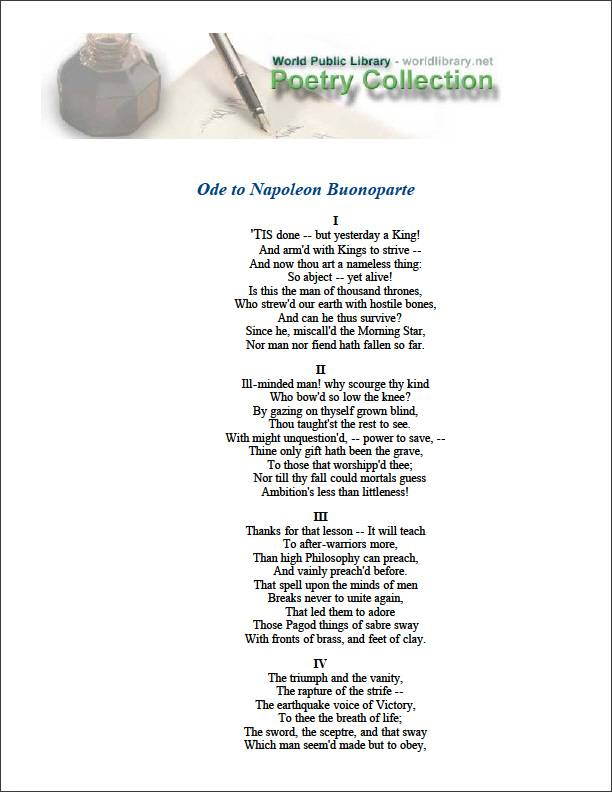 Ode to Napoleon Buonoparte by Byron, Lord