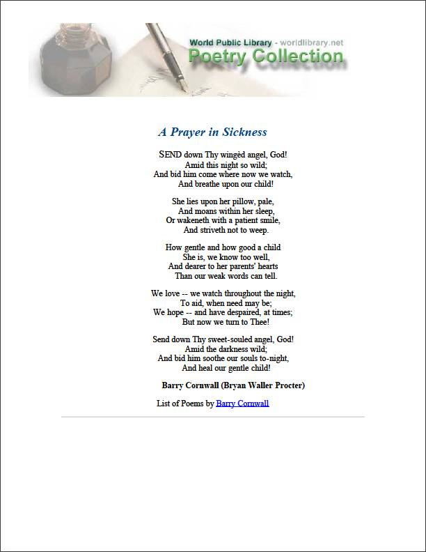 A Prayer in Sickness by Cornwall, Barry