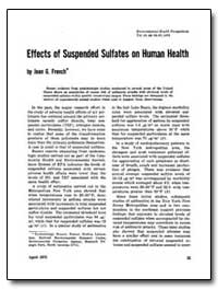 Effects of Suspended Sulfates on Human H... by French, Jean G.