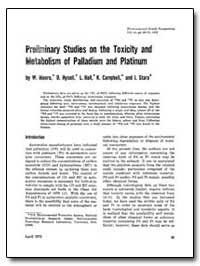 Preliminary Studies on the Toxicity and ... by Moore, W.
