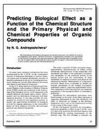 Predicting Biological Effect as a Functi... by Andreyeshcheva, N. G.