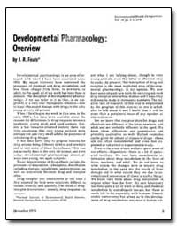 Development Pharmacology : Overview by Fouts, J. R.