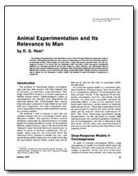 Animal Experimentation and Its Relevance... by Hoel, David G.