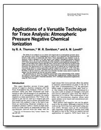 Applications of a Versatile Technique-Fo... by Thornson, B. A.
