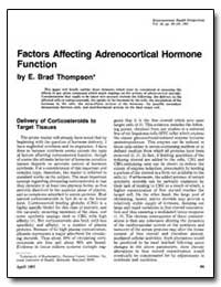 Factors Affecting Adrenocortical Hormone... by Thompson, E. Brad