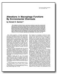 Alterations in Macrophage Functions by E... by Gardner, Donald E.