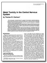 Metal Toxicity in the Central Nervous Sy... by Clarkson, Thomas W.