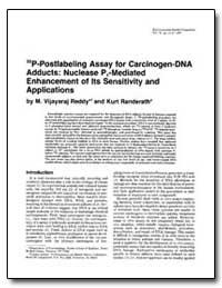P-Post Labeling Assay for Carcinogen-Dna... by Randerath, Kurt