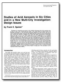 Studies of Acid Aerosols in Six Cities a... by Speizer, Frank E.