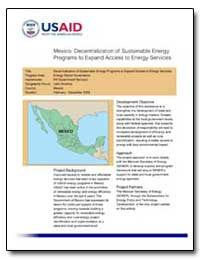 Mexico : Decentralization of Sustainable... by International Development Agency