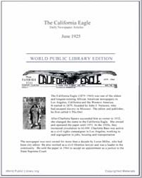 California Eagle, June 1925 Volume Issue : June 1925 by Bass, Charlotta, A.