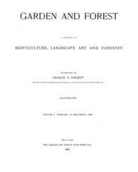 Garden and Forest Volume 1 Index by Charles S; Sargent